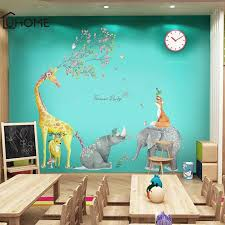 Forest Animal Large Giraffe Elephant Fox Tree Wall Stickers For Kids Room Children Wall Decal Nursery Bedroom Decor Poster Mural Y200103 Sticker Wall Decoration Sticker Wall Murals From Shanye10 9 72 Dhgate Com