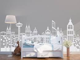 Large City Skyline Silhouette Wall Decal Cityscape Wall Etsy In 2020 Kid Room Decor Boys Room Decor Nursery Wall Decals