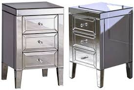 valencia mirrored 3 drawer bedside