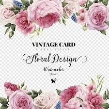 دعوة زفاف بطاقة معايدة زهرة Hd الورود المائية رسمت باليد بطاقة