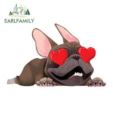 Earlfamily 13cm X 8 3cm Showing Love French Bulldog Sticker Car Window Decal Funny Car Stickers Cartoon Pet Dog Car Styling Aliexpress