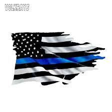 Volkrays Creative Car Sticker Thin Blue Line Tattered Flag Sticker Police Usa Vinyl Decal Decoration Accessories 13cm 7cm Car Stickers Aliexpress