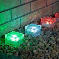 solar garden glass brick lights