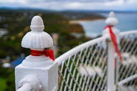 Red Ribbon Tied On White Safety Handrails Stock Photo Image Of View Border 189492070