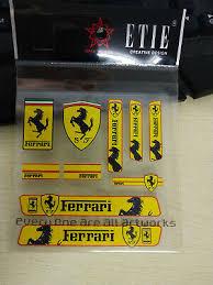 10pcs Yellow Ferrari Car Strips Stickers Decal Badge Emblem For Famous Cars Ebay
