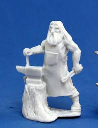 Townsfolk: Blacksmith (Human with Hammer & Anvil) 1pk || Unpainted Pla