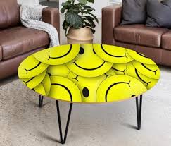 Smiley Face Kid S Room Decor Table Round Coffee Table End Etsy