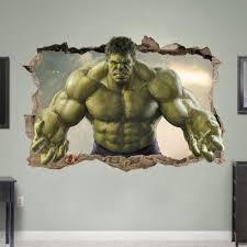 Hulk Smashed 3d Wall Sticker Bedroom Kids Avengers Art Removable Vinyl Marvel Wall Stickers Bedroom Wall Sticker Avengers Bedroom