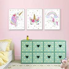 Amazon Com Unicorn Wall Posters Rainbow Unicorn Canvas Wall Art Prints Painting Decoration Pictures Set Of 3 8 X11 8 For Girls Kids Bedroom Nursery Wall Decor Gift No Frame Posters Prints