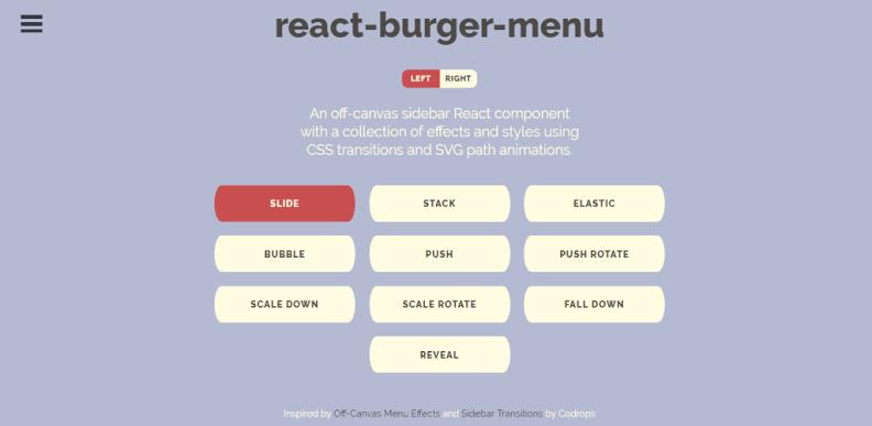 "Image result for React Burger Menu"""
