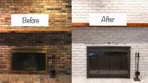 whitewashed brick fireplace update
