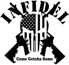 Infidel Punisher American Flag Ar 15 Car Or Truck Window Decal Sticker Rad Dezigns