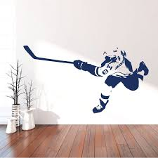 Amazon Com Hockey Wall Decor Personalized Player Shooting Puck Vinyl Sticker For Teen Boy S Bedroom Or Playroom Sports Decorations Handmade
