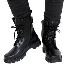 fashion army black leather boots men