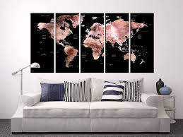 Amazon Com Extra Large Wall Decals Black And Rose Gold World Map On Canvas Print Framed World Travel Map Canvas Wall Art Abstract Wall Art Extra Large Map Large Wall Kids Room Map