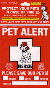 Pet Alert Fire Rescue 2 Pet Alert Static Cling Window Decals A Package Of 2 New