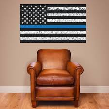 Thin Blue Line American Flag Distorted Wall Decal Sticker 0453 28 Wall Decal Studios Com