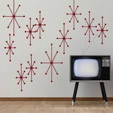 Digtour Wallart Atomic Starbursts Vinyl Wall Decals Mid Century Modern Wall Sticker Retro Wall Mural Home Art Decoration Dark Red Amazon Com