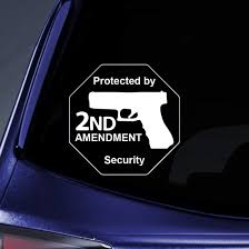 Amazon Com Bargain Max Decals Protected By 2nd Amendment Security Gun Sticker Decal Notebook Car Laptop 6 White Automotive