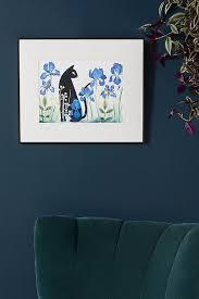 Black Cat Among Irises Wall Art Anthropologie