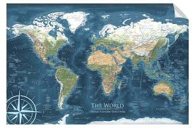 Voyager 1 World Map Wall Decal Geojango Maps