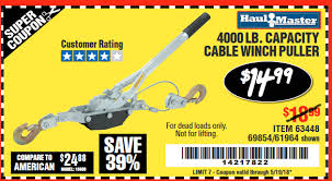 Harbor Freight Tools Coupon Database Free Coupons 25 Percent Off Coupons Toolbox Coupons 4000 Lb Capacity Cable Winch Puller