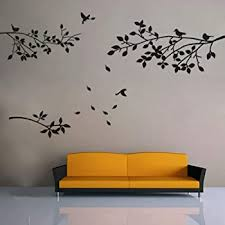 Amazon Com Kiki Monkey Elegant Tree And Birds Wall Decal Art Branch Wall Sticker Living Room Decoration Black Xl Home Kitchen