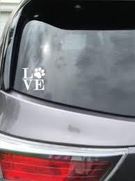 Dog Paw Print Love Decal White Vinyl Sticker Car Window Laptop Flat Surface Mary B Decorative Art