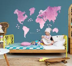 Kids Pink World Maps With Little Fishes Wall Decal Sticker Wall Decals Wallmur