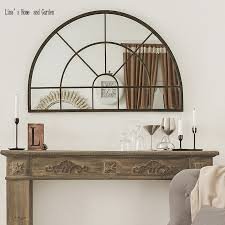 handmade antique arched metal mirror