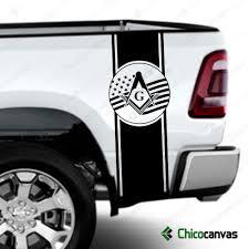American Flag Mason Masonic Rear Truck Bed Graphic Decal Vinyl Stripes Sticker Chicocanvas