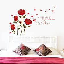 Cute Kawaii Wall Stickers Flower Rose Removable Home Decor Plastic Art Wall Stickers Decal Wallpaper Wish