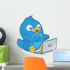 Blue Bird With Laptop Wall Decal Wallmonkeys Com