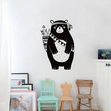 Tribal Black Bear Wall Decal Woodland Animal Bear Wall Sticker For Kids Room For Sale Online