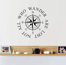 Amazon Com Vbjtrx Quot Not All Who Wander Are Lost Quot Compass Wall Sticker Diy Wall Art Decal Vinyl Wallpaper For Living Room Home Decor 44x44cm Kitchen Dining