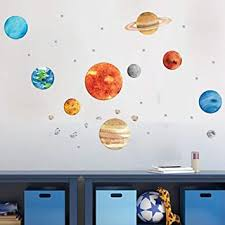 Amazon Com Planet Wall Decals Hd Home Removable Solar System Watercolor Space Wall Stickers For Kids Solar System Wall Decals For Kids Rooms Planet Wall Decals Baby