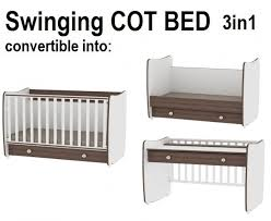 rocking baby cot bed 140x70 3 in 1 desk