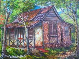 Jamaican #artist Webster Campbell #artwork Old house in Trelawny at EJ  #gallery | Experience Jamaique | Old house, House, House styles