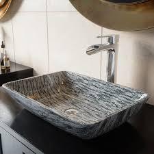titanium glass rectangle vessel sink