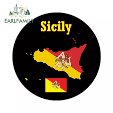 Earlfamily 13cm X 13cm For Sicily Map Flag Round Souvenir Novelty Funny Car Sticker Window Bumper Decal Car Styling Graphic Car Stickers Aliexpress