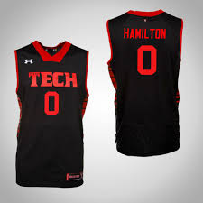 Men's Texas Tech Red Raiders Tommy Hamilton IV Replica Jersey Black College  Basketball