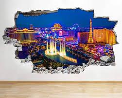 Amazon Com Aa478 Las Vegas Night Lights City Smashed Wall Decal 3d Art Stickers Vinyl Room Kids Bedroom Baby Nursery Poster Livingroom Boys Girls Mural Kitchen Dining