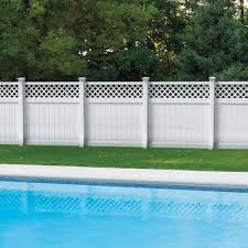 Freedom Ready To Assemble Freeport 6 Ft H X 6 Ft W White Vinyl Lattice Top Vinyl Fence Panel In Stock Hardwarestore Delivery