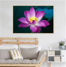 Canvas Paintings Pink Purple Lotus Flowers Wall Art Picture Wall Pictures For Bedroom Kids Room Decor Home Decoration Guadros Painting Calligraphy Aliexpress
