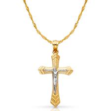 14k two tone gold crucifix cross