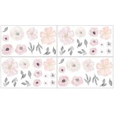 Shop Sweet Jojo Designs Pink And Grey Watercolor Floral Collection Peel And Stick Wall Decal Stickers Art Nursery Decor Set Of 4 Overstock 20311102