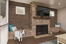 fireplace in a screened in porch we did