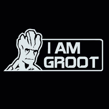 I Am Groot Guardians Of The Galaxy Inspired Decal Sticker 7 Inches By 3 Inches White Vinyl Walmart Com Walmart Com