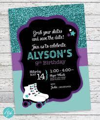 Rollerskate Party Invitation Roller Skate Birthday Roller