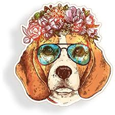 Amazon Com Beagle Dog Sticker Wearing Glasses Flowers For Cup Cooler Car Truck Vehicle Laptop Window Bumper Decal Everything Else